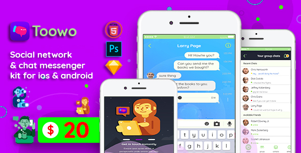 Toowo - Chat messenger & Social network, kit UI for ios & android            Nulled