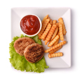 Top view of plate with burgers, fries and ketchup - PhotoDune Item for Sale