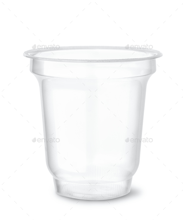 Disposable clear plastic cup - Stock Photo - Images