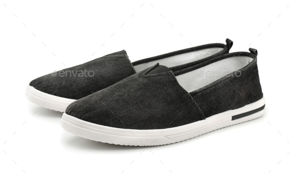 Black canvas slip on casual shoes - Stock Photo - Images
