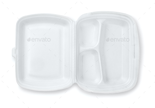 Open foam hinged three compartment meal container - Stock Photo - Images