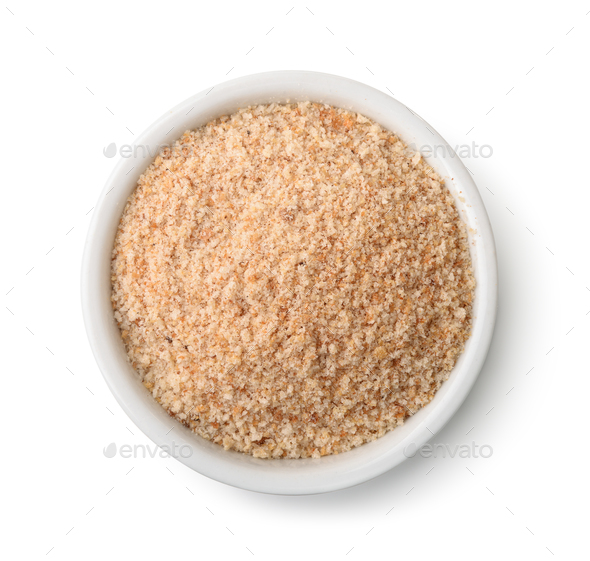 Top view of bowl full of breadcrumbs - Stock Photo - Images