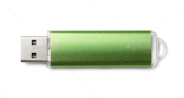 Top view of green USB flash drive - Stock Photo - Images