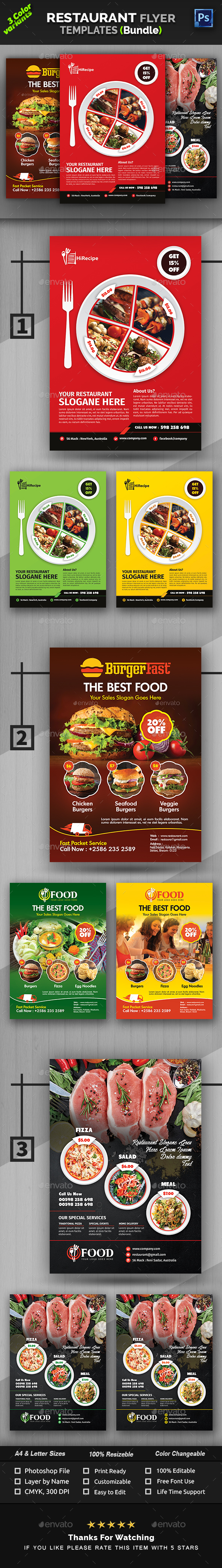 Restaurant Flyer Bundle - Restaurant Flyers