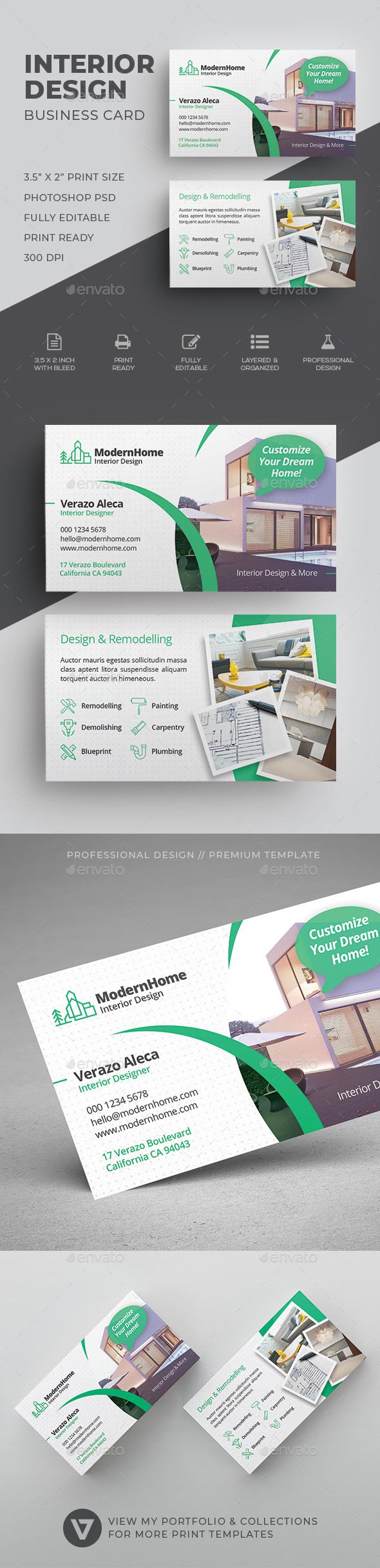 interior design business card industry specific business cards - Interior Design Business Cards