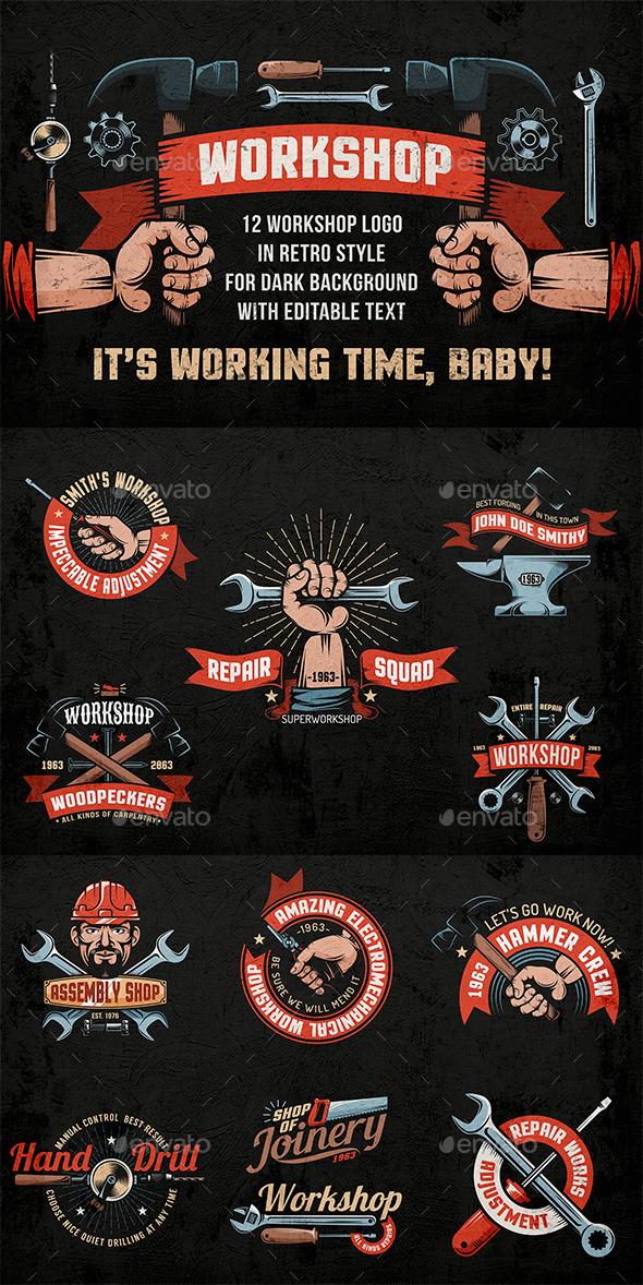 Workshop Color Emblems on Dark Background - Industries Business