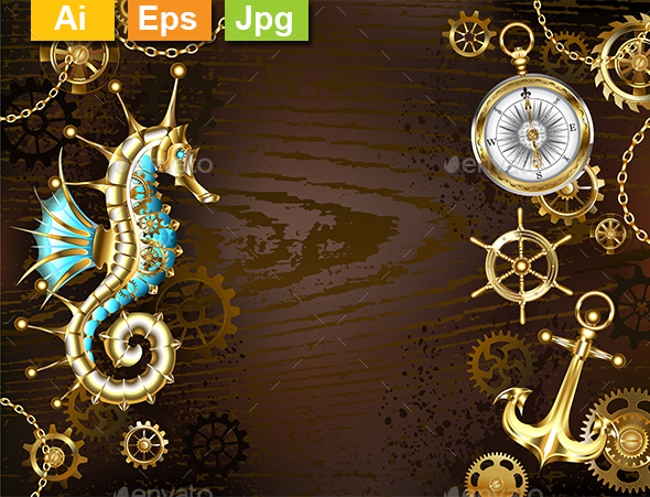 Wooden Background with Mechanical Seahorse - Backgrounds Decorative
