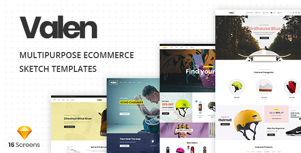 Valen - A Multi-Concept Ecommerce Sketch Template - Sketch Templates