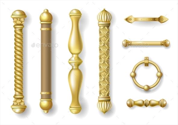 Set Of Classic Gold Door Handles   Buildings Objects