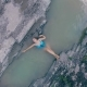 Young Girl Bathing in a Backwater of a Mountain River - VideoHive Item for Sale