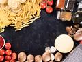Top view mix of uncooked raw pasta, spaghetti, macaroni next to mushrooms - PhotoDune Item for Sale