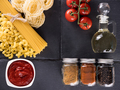Top view variety of raw uncooked pasta - PhotoDune Item for Sale