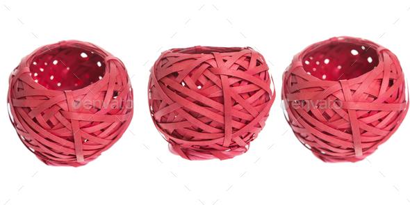 Red basket on white background isolated - Stock Photo - Images