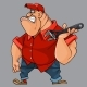 Cartoon Angry Man with a Tool in His Hand - GraphicRiver Item for Sale