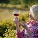A Woman Is Tasting Wine. It Is Near the Vineyard at Sunset - VideoHive Item for Sale