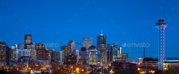 Denver skyline at dusk, Colorado, USA - Stock Photo - Images