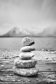 Black and white picture of balanced stones. - PhotoDune Item for Sale