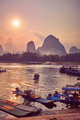 Scenic sunset over Li River in Xingping, China. - PhotoDune Item for Sale