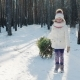 Caucasian Girl Is Carrying a Christmas Tree on a Wooden Sled - VideoHive Item for Sale
