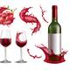 Realistic Wine Splash Set