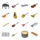 Musical Instrument Cartoon Icons in Set