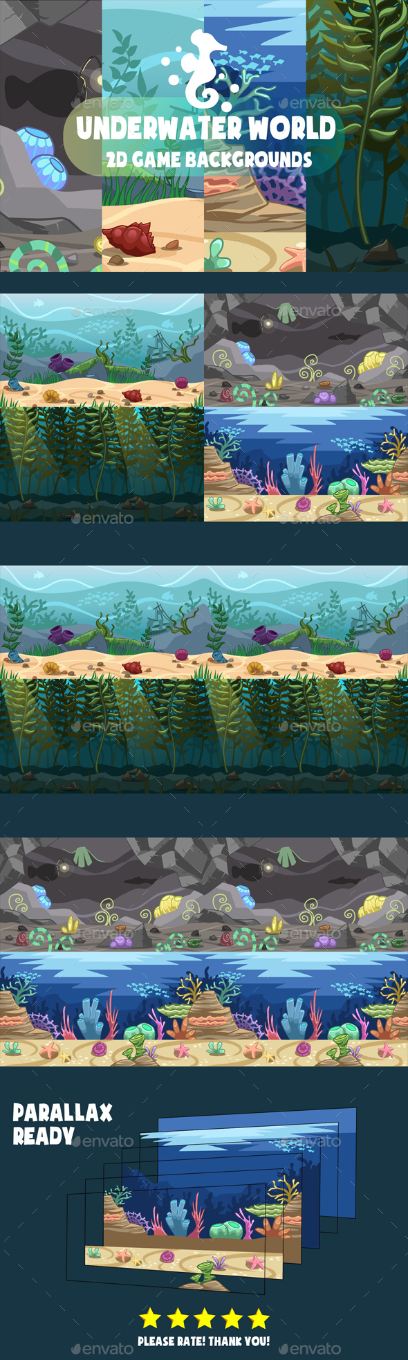 Underwater World Backgrounds - Backgrounds Game Assets