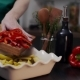 The Cook Makes Meal with Red Bell Pepper and Other Vegetables - VideoHive Item for Sale