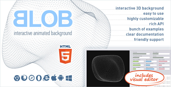 BLOB - Interactive Animated 3D Background            Nulled