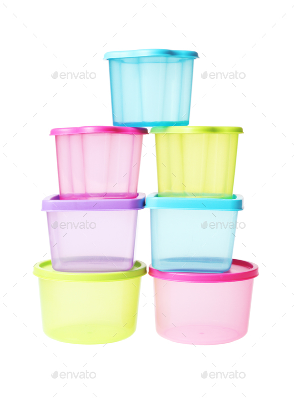 Stack of Colorful Plastic Containers - Stock Photo - Images