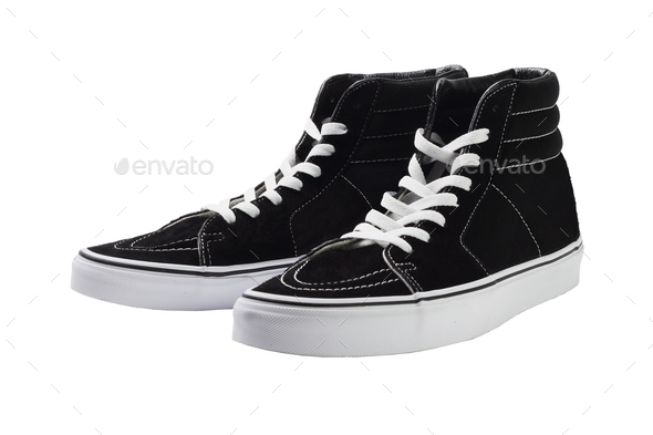 Black High Top Canvas Sneakers - Stock Photo - Images
