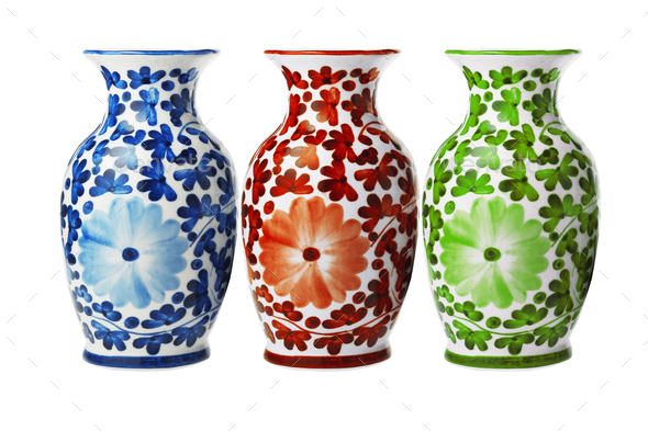 Chinese Porcelain Floral Vases - Stock Photo - Images
