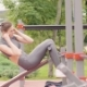 Beautiful Girl Training Workout Exercise on Sport Ground in Summer Park - VideoHive Item for Sale