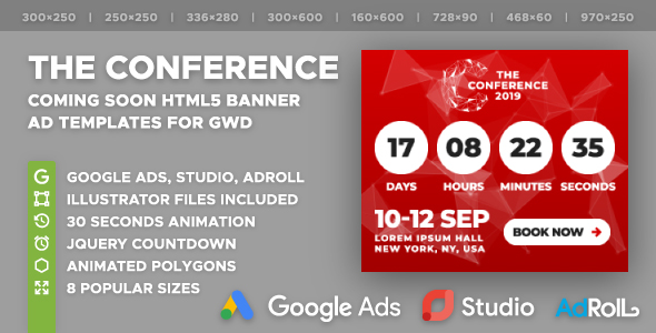 The Conference - Coming Soon Banner Ad Templates with Live Countdown (GWD)            Nulled