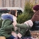 A Stylish Dad with a Beard Loads a New Year Tree in the Car's Body, on Which a Young Wife and Child - VideoHive Item for Sale
