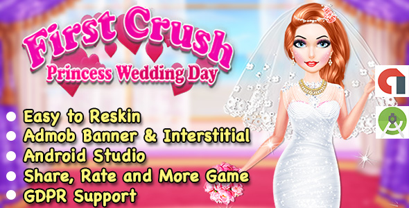 Wedding Princess Salon Dress Up Game For Kids + Ready For Publish + Admob + Android Studio            Nulled