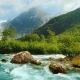 Briksdal Glacier with a Mountain River in the Foreground. The Amazing Nature of Norway - VideoHive Item for Sale