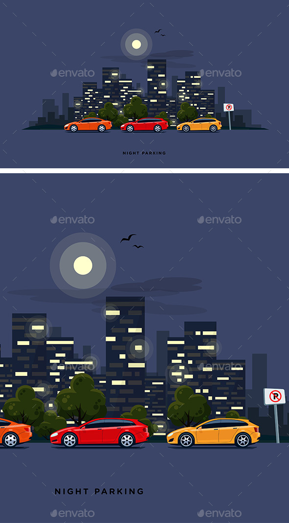 Parking Cars on the Street with Night City Skyline Background - Travel Conceptual