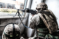 Army machine gunner attacks enemy with aimed fire - PhotoDune Item for Sale