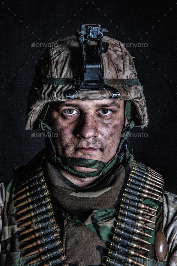 Marine machine gunner with ammo belts on chest - Stock Photo - Images