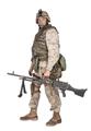 Soldier with machine gun isolated studio shoot - PhotoDune Item for Sale