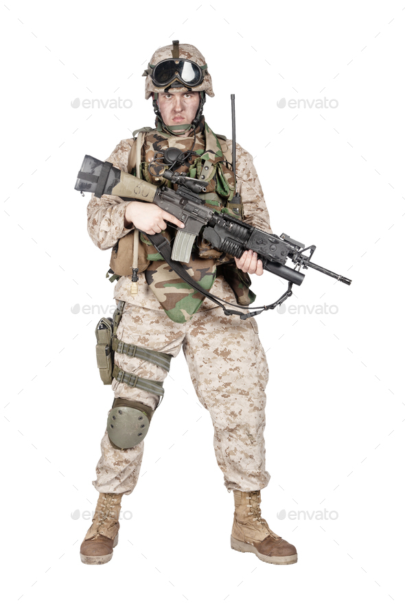Equipped and armed U S  Marine Corps rifleman