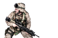 Soldier crouching under fire and screaming orders - PhotoDune Item for Sale