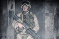 Equipped marine in combat conditions in war zone - PhotoDune Item for Sale
