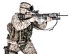 Screaming machine gunner soldier shooting from waist - PhotoDune Item for Sale