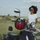 Couple of Friends Going on Ride with a Motorbike and Red Helmets - VideoHive Item for Sale