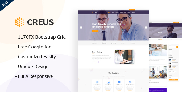 Creus - Consulting, Finance & Business PSD Template - Corporate PSD Templates