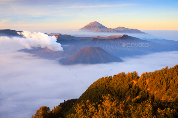 Bromo volcano at sunrise, East Java, Indonesia - Stock Photo - Images