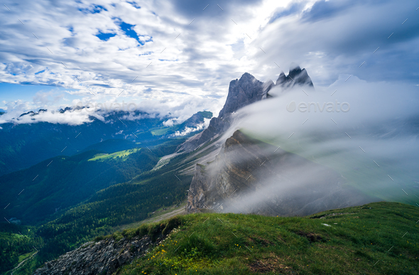 Seceda mountain in the Dolomites, South Tyrol, Italy - Stock Photo - Images
