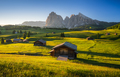 Seiser Alm (Alpe di Siusi) with Langkofel mountain at sunrise, Italy - PhotoDune Item for Sale