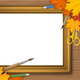 Picture Frame with Autumn Leaves and Art Supplies - GraphicRiver Item for Sale